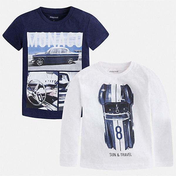 Купить Комплект:Футболка с длинным рукавом, футболка Mayoral для мальчика, Китай, белый, 92, 134, 128, 122, 116, 110, 104, 98, Мужской