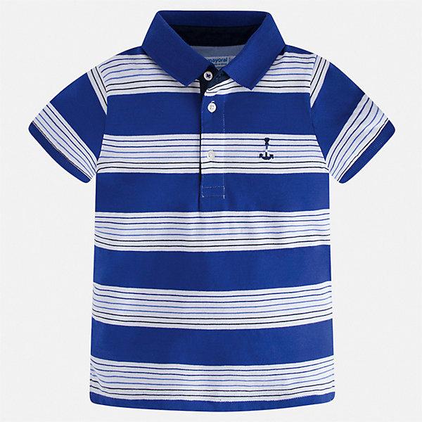 Рубашка-поло Mayoral для мальчикаФутболки, поло и топы<br>Характеристики товара:<br><br>• цвет: белый<br>• состав ткани: 100% хлопок<br>• сезон: лето<br>• особенности модели: отложной воротник<br>• застежка: пуговицы<br>• короткие рукава<br>• страна бренда: Испания<br>• стиль и качество <br><br>Хлопковая футболка-поло для мальчика от Майорал поможет создать множество удачных комбинаций в одежде. Детская футболка-поло отличается модным дизайном от европейских специалистов. В футболке-поло для мальчика от испанской компании Майорал ребенку обеспечен комфорт и стильный внешний вид. <br><br>Футболку-поло Mayoral (Майорал) для мальчика можно купить в нашем интернет-магазине.<br>Ширина мм: 174; Глубина мм: 10; Высота мм: 169; Вес г: 157; Цвет: синий; Возраст от месяцев: 18; Возраст до месяцев: 24; Пол: Мужской; Возраст: Детский; Размер: 92,134,128,122,116,110,104,98; SKU: 7539545;
