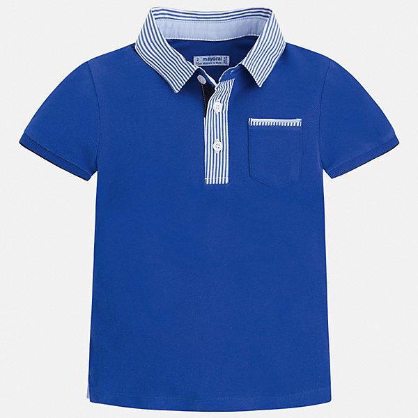 Футболка-поло Mayoral для мальчикаФутболки, поло и топы<br>Характеристики товара:<br><br>• цвет: голубой<br>• состав ткани: 100% хлопок<br>• сезон: лето<br>• особенности модели: отложной воротник<br>• застежка: пуговицы<br>• короткие рукава<br>• страна бренда: Испания<br>• стиль и качество <br><br>Хлопковая футболка-поло для мальчика от Майорал поможет создать множество удачных комбинаций в одежде. Детская футболка-поло отличается модным дизайном от европейских специалистов. В футболке-поло для мальчика от испанской компании Майорал ребенку обеспечен комфорт и стильный внешний вид. <br><br>Футболку-поло Mayoral (Майорал) для мальчика можно купить в нашем интернет-магазине.<br>Ширина мм: 199; Глубина мм: 10; Высота мм: 161; Вес г: 151; Цвет: синий; Возраст от месяцев: 18; Возраст до месяцев: 24; Пол: Мужской; Возраст: Детский; Размер: 92,134,128,122,116,110,104,98; SKU: 7539572;