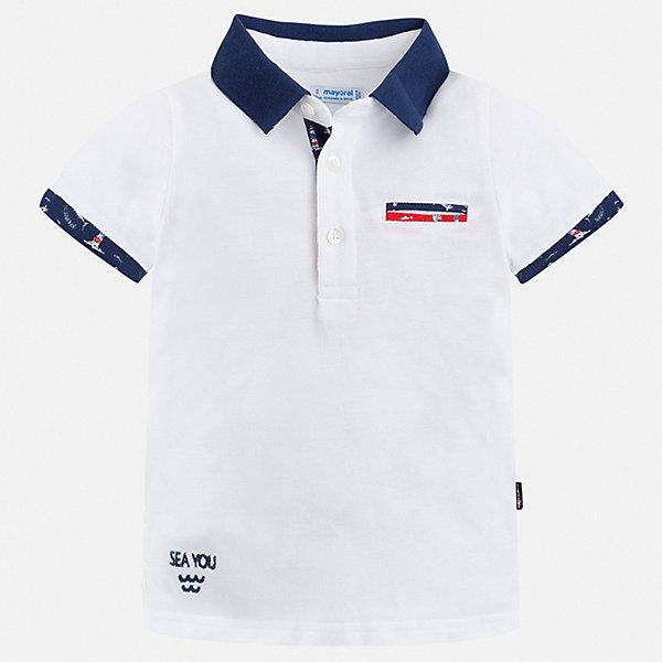 Рубашка-поло Mayoral для мальчикаОдежда<br>Характеристики товара:<br><br>• цвет: белый<br>• состав ткани: 100% хлопок<br>• сезон: лето<br>• особенности модели: отложной воротник<br>• застежка: пуговицы<br>• короткие рукава<br>• страна бренда: Испания<br>• стиль и качество <br><br>Классическая футболка-поло для детей от испанской компании Mayoral - пример отличного вкуса. Модная футболка-поло для мальчика от Mayoral отличается высоким качеством исполнения. Стильная детская футболка-поло сделана из натуральной хлопковой ткани. <br><br>Футболку-поло Mayoral (Майорал) для мальчика можно купить в нашем интернет-магазине.<br>Ширина мм: 174; Глубина мм: 10; Высота мм: 169; Вес г: 157; Цвет: белый; Возраст от месяцев: 96; Возраст до месяцев: 108; Пол: Мужской; Возраст: Детский; Размер: 134,92,98,104,110,116,122,128; SKU: 7539725;