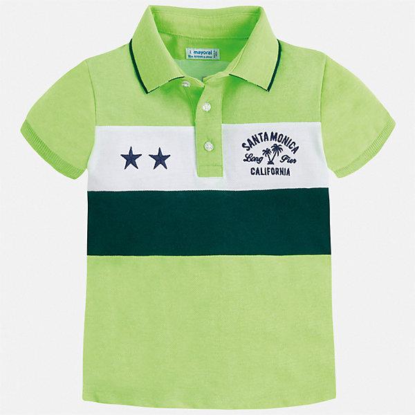 Футболка-поло Mayoral для мальчикаФутболки, поло и топы<br>Характеристики товара:<br><br>• цвет: зеленый<br>• состав ткани: 65% полиэстер, 35% хлопок<br>• сезон: лето<br>• особенности модели: отложной воротник<br>• застежка: пуговицы<br>• короткие рукава<br>• страна бренда: Испания<br>• стиль и качество <br><br>Классическая футболка-поло для детей от испанской компании Mayoral - пример отличного вкуса. Модная футболка-поло для мальчика от Mayoral отличается высоким качеством исполнения. Стильная детская футболка-поло сделана из качественной ткани. <br><br>Футболку-поло Mayoral (Майорал) для мальчика можно купить в нашем интернет-магазине.<br>Ширина мм: 174; Глубина мм: 10; Высота мм: 169; Вес г: 157; Цвет: зеленый; Возраст от месяцев: 18; Возраст до месяцев: 24; Пол: Мужской; Возраст: Детский; Размер: 92,134,128,122,116,110,104,98; SKU: 7539752;