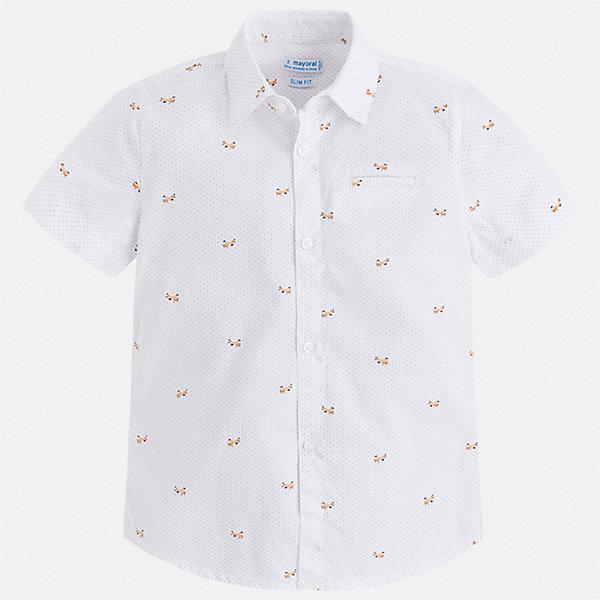 Рубашка Mayoral для мальчикаБлузки и рубашки<br>Характеристики товара:<br><br>• цвет: белый<br>• состав ткани: 100% хлопок<br>• сезон: лето<br>• застежка: пуговицы<br>• короткие рукава<br>• страна бренда: Испания<br>• стиль и качество<br><br>Легкая рубашка с коротким рукавом для мальчика Mayoral удобно сидит по фигуре. Стильная детская рубашка сделана из натуральной хлопковой ткани. Отличный способ обеспечить ребенку комфорт и аккуратный внешний вид - надеть детскую рубашку от Mayoral. Детская рубашка с коротким рукавом сшита из приятного на ощупь материала, который позволяет коже дышать. <br><br>Рубашку Mayoral (Майорал) для мальчика можно купить в нашем интернет-магазине.<br>Ширина мм: 174; Глубина мм: 10; Высота мм: 169; Вес г: 157; Цвет: белый; Возраст от месяцев: 18; Возраст до месяцев: 24; Пол: Мужской; Возраст: Детский; Размер: 92,134,128,122,116,110,104,98; SKU: 7539962;