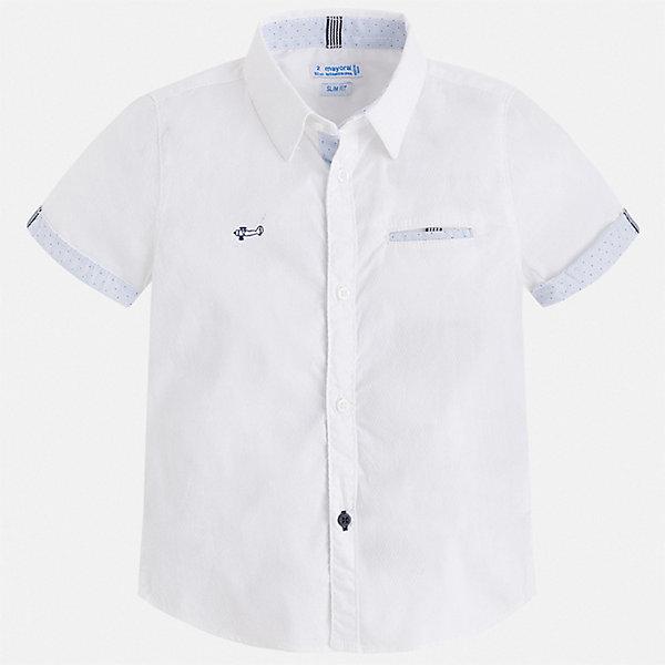 Рубашка Mayoral для мальчикаБлузки и рубашки<br>Характеристики товара:<br><br>• цвет: белый<br>• состав ткани: 73% хлопок, 24% полиамид, 3% эластан<br>• сезон: лето<br>• застежка: пуговицы<br>• короткие рукава<br>• страна бренда: Испания<br>• стиль и качество<br><br>Белая рубашка для мальчика от Майорал поможет создать стильный и удобный наряд. Детская рубашка отличается модным и продуманным дизайном. В рубашке для мальчика от испанской компании Майорал ребенок будет выглядеть оригинально и аккуратно. <br><br>Рубашку Mayoral (Майорал) для мальчика можно купить в нашем интернет-магазине.<br>Ширина мм: 174; Глубина мм: 10; Высота мм: 169; Вес г: 157; Цвет: белый; Возраст от месяцев: 18; Возраст до месяцев: 24; Пол: Мужской; Возраст: Детский; Размер: 92,134,128,122,116,110,104,98; SKU: 7539998;