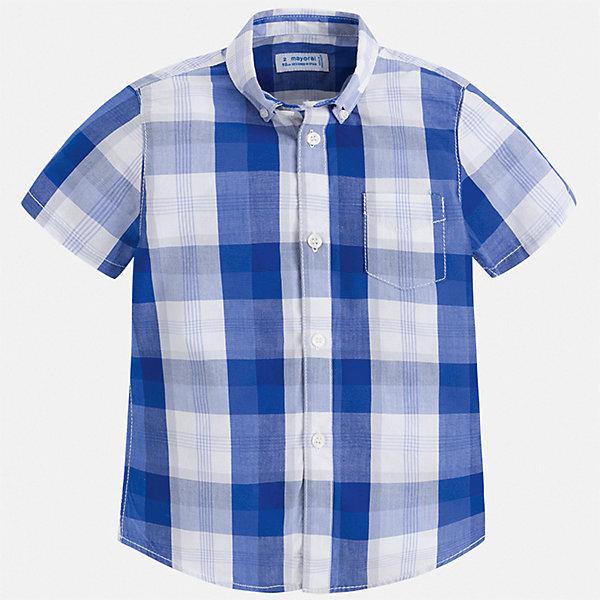 Рубашка Mayoral для мальчикаБлузки и рубашки<br>Характеристики товара:<br><br>• цвет: синий<br>• состав ткани: 100% хлопок<br>• сезон: лето<br>• застежка: пуговицы<br>• короткие рукава<br>• страна бренда: Испания<br>• стиль и качество<br><br>Клетчатая рубашка с коротким рукавом для мальчика отличается высоким качеством швов и материала. Такая детская рубашка сделана из дышащего приятного на ощупь материала. Благодаря качественному крою детской рубашки создаются комфортные условия для тела. <br><br>Рубашку Mayoral (Майорал) для мальчика можно купить в нашем интернет-магазине.<br>Ширина мм: 174; Глубина мм: 10; Высота мм: 169; Вес г: 157; Цвет: синий; Возраст от месяцев: 18; Возраст до месяцев: 24; Пол: Мужской; Возраст: Детский; Размер: 92,134,128,122,116,110,104,98; SKU: 7540007;