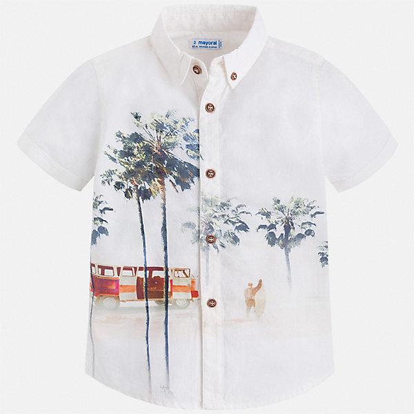Рубашка Mayoral для мальчикаБлузки и рубашки<br>Характеристики товара:<br><br>• цвет: белый<br>• состав ткани: 100% хлопок<br>• сезон: лето<br>• застежка: пуговицы<br>• короткие рукава<br>• страна бренда: Испания<br>• стиль и качество<br><br>Принтованная рубашка для мальчика от Майорал поможет создать стильный и удобный наряд. Детская рубашка отличается модным и продуманным дизайном. В рубашке для мальчика от испанской компании Майорал ребенок будет выглядеть оригинально и аккуратно. <br><br>Рубашку Mayoral (Майорал) для мальчика можно купить в нашем интернет-магазине.<br>Ширина мм: 174; Глубина мм: 10; Высота мм: 169; Вес г: 157; Цвет: бежевый; Возраст от месяцев: 96; Возраст до месяцев: 108; Пол: Мужской; Возраст: Детский; Размер: 134,104,128,122,116,110; SKU: 7540025;
