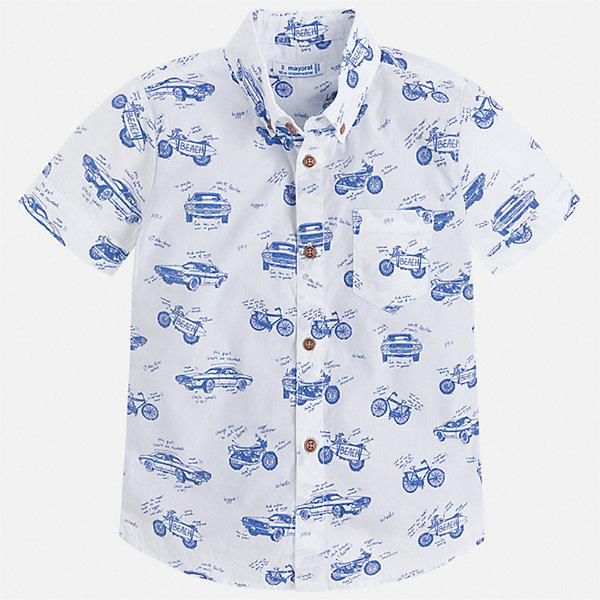 Рубашка Mayoral для мальчикаБлузки и рубашки<br>Характеристики товара:<br><br>• цвет: мульти<br>• состав ткани: 100% хлопок<br>• сезон: лето<br>• застежка: пуговицы<br>• короткие рукава<br>• страна бренда: Испания<br>• стиль и качество<br><br>Легкая рубашка с коротким рукавом для мальчика Mayoral позволит создать множество модных нарядов. Отличный способ обеспечить ребенку комфорт и аккуратный внешний вид - надеть детскую рубашку от Mayoral. Детская рубашка с коротким рукавом сшита из приятного на ощупь материала, который позволяет коже дышать. <br><br>Рубашку Mayoral (Майорал) для мальчика можно купить в нашем интернет-магазине.<br>Ширина мм: 174; Глубина мм: 10; Высота мм: 169; Вес г: 157; Цвет: разноцветный; Возраст от месяцев: 96; Возраст до месяцев: 108; Пол: Мужской; Возраст: Детский; Размер: 134,128,122,116,110,104,98,92; SKU: 7540041;
