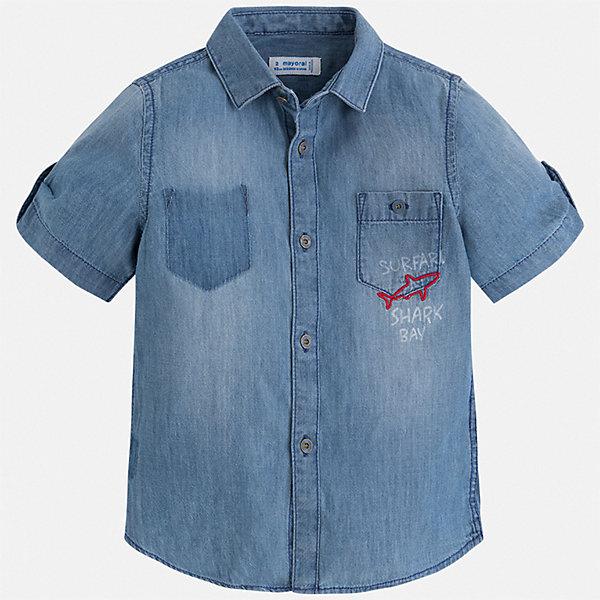 Рубашка Mayoral для мальчикаБлузки и рубашки<br>Характеристики товара:<br><br>• цвет: синий<br>• состав ткани: 100% хлопок<br>• сезон: лето<br>• застежка: пуговицы<br>• короткие рукава<br>• страна бренда: Испания<br>• стиль и качество<br><br>Эта джинсовая детская рубашка сделана из дышащего приятного на ощупь материала. Благодаря продуманному крою детской рубашки создаются комфортные условия для тела. Рубашка с коротким рукавом для мальчика отличается лаконичным продуманным дизайном.<br><br>Рубашку Mayoral (Майорал) для мальчика можно купить в нашем интернет-магазине.<br>Ширина мм: 174; Глубина мм: 10; Высота мм: 169; Вес г: 157; Цвет: голубой; Возраст от месяцев: 18; Возраст до месяцев: 24; Пол: Мужской; Возраст: Детский; Размер: 92,134,128,122,116,110,104,98; SKU: 7540050;