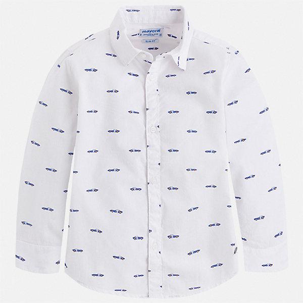 Рубашка Mayoral для мальчикаОдежда<br>Характеристики товара:<br><br>• цвет: белый<br>• состав ткани: 100% хлопок<br>• сезон: круглый год<br>• застежка: пуговицы<br>• длинные рукава<br>• страна бренда: Испания<br>• стиль и качество<br><br>Принтованная рубашка с длинным рукавом для мальчика Mayoral отлично подходит для создания стильного наряда в комплекте с джинсами или брюками. Эта детская рубашка сделана из натуральной хлопковой ткани.  Детская рубашка с коротким рукавом сшита из приятного на ощупь материала, который позволяет коже дышать. <br><br>Рубашку Mayoral (Майорал) для мальчика можно купить в нашем интернет-магазине.<br>Ширина мм: 174; Глубина мм: 10; Высота мм: 169; Вес г: 157; Цвет: белый; Возраст от месяцев: 96; Возраст до месяцев: 108; Пол: Мужской; Возраст: Детский; Размер: 134,92,98,104,110,116,122,128; SKU: 7540059;