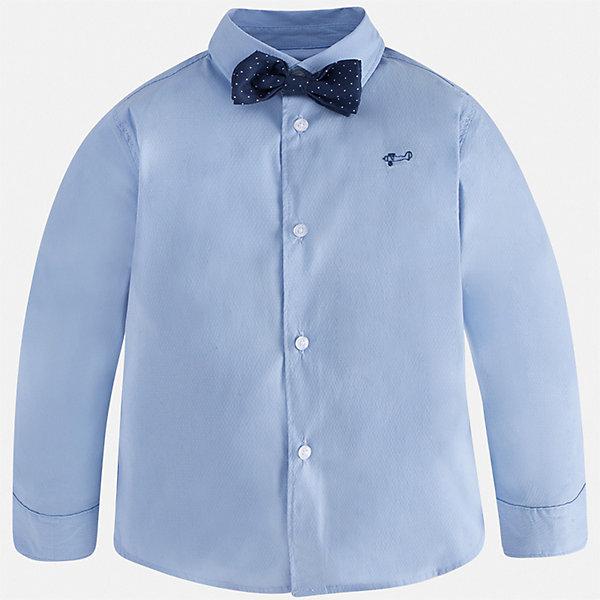 Рубашка Mayoral для мальчикаБлузки и рубашки<br>Характеристики товара:<br><br>• цвет: белый<br>• комплектация: рубашка и галстук-бабочка<br>• состав ткани: 72% хлопок, 25% полиамид, 3% эластан<br>• сезон: круглый год<br>• особенности модели: нарядная<br>• застежка: пуговицы<br>• длинные рукава<br>• страна бренда: Испания<br>• стиль и качество<br><br>Такая рубашка с длинным рукавом для мальчика Mayoral идеально подходит для торжественных случаев. Стильная детская рубашка сделана из натуральной хлопковой ткани. Детская рубашка сшита из приятного на ощупь материала, который позволяет коже дышать. <br><br>Рубашку Mayoral (Майорал) для мальчика можно купить в нашем интернет-магазине.<br>Ширина мм: 174; Глубина мм: 10; Высота мм: 169; Вес г: 157; Цвет: голубой; Возраст от месяцев: 18; Возраст до месяцев: 24; Пол: Мужской; Возраст: Детский; Размер: 92,134,128,122,116,110,104,98; SKU: 7540086;