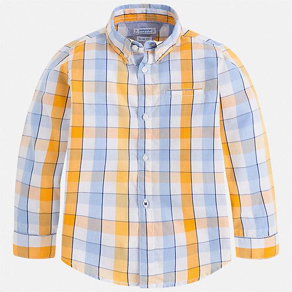 Рубашка Mayoral для мальчикаБлузки и рубашки<br>Характеристики товара:<br><br>• цвет: голубой<br>• состав ткани: 100% хлопок<br>• сезон: круглый год<br>• застежка: пуговицы<br>• длинные рукава<br>• страна бренда: Испания<br>• стиль и качество<br><br>Клетчатая рубашка для мальчика от Майорал поможет создать стильный и удобный наряд в любое время года. Детская рубашка отличается модным и продуманным дизайном. В рубашке для мальчика от испанской компании Майорал ребенок будет выглядеть оригинально и аккуратно. <br><br>Рубашку Mayoral (Майорал) для мальчика можно купить в нашем интернет-магазине.<br>Ширина мм: 174; Глубина мм: 10; Высота мм: 169; Вес г: 157; Цвет: желтый; Возраст от месяцев: 18; Возраст до месяцев: 24; Пол: Мужской; Возраст: Детский; Размер: 92,134,128,122,116,110,104,98; SKU: 7540095;
