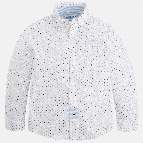 Рубашка Mayoral для мальчикаОдежда<br>Характеристики товара:<br><br>• цвет: белый<br>• состав ткани: 100% хлопок<br>• сезон: круглый год<br>• застежка: пуговицы<br>• длинные рукава<br>• страна бренда: Испания<br>• стиль и качество<br><br>Стильная рубашка с длинным рукавом для мальчика Mayoral идеально подходит для ежедневного ношения или создания праздничных комплектов. Стильная детская рубашка сделана из натуральной хлопковой ткани. Детская рубашка сшита из приятного на ощупь материала, который позволяет коже дышать. <br><br>Рубашку Mayoral (Майорал) для мальчика можно купить в нашем интернет-магазине.<br>Ширина мм: 174; Глубина мм: 10; Высота мм: 169; Вес г: 157; Цвет: белый; Возраст от месяцев: 48; Возраст до месяцев: 60; Пол: Мужской; Возраст: Детский; Размер: 110,134,104,92,98,128,122,116; SKU: 7540113;