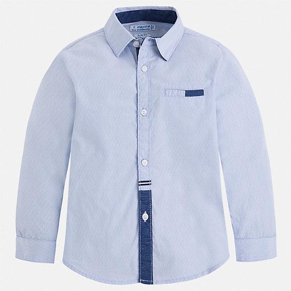 Рубашка Mayoral для мальчикаОдежда<br>Характеристики товара:<br><br>• цвет: голубой<br>• состав ткани: 100% хлопок<br>• сезон: круглый год<br>• застежка: пуговицы<br>• длинные рукава<br>• страна бренда: Испания<br>• стиль и качество<br><br>Эта рубашка с длинным рукавом для мальчика Mayoral создана европейскими дизайнерами с учетом последних веяний моды. Стильная детская рубашка сделана из натуральной хлопковой ткани. Детская рубашка сшита из приятного на ощупь материала, который позволяет коже дышать. <br><br>Рубашку Mayoral (Майорал) для мальчика можно купить в нашем интернет-магазине.<br>Ширина мм: 174; Глубина мм: 10; Высота мм: 169; Вес г: 157; Цвет: голубой; Возраст от месяцев: 36; Возраст до месяцев: 48; Пол: Мужской; Возраст: Детский; Размер: 104,98,92,134,128,122,116,110; SKU: 7540140;