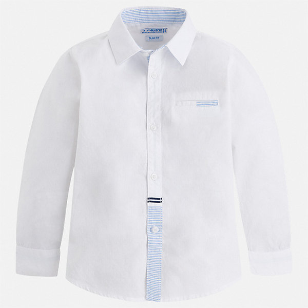 Рубашка Mayoral для мальчикаБлузки и рубашки<br>Характеристики товара:<br><br>• цвет: белый<br>• состав ткани: 100% хлопок<br>• сезон: круглый год<br>• особенности модели: нарядная<br>• застежка: пуговицы<br>• длинные рукава<br>• страна бренда: Испания<br>• стиль и качество<br><br>Белая рубашка для мальчика от Майорал поможет создать стильный и удобный наряд в любое время года. Детская рубашка отличается модным и продуманным дизайном. В рубашке для мальчика от испанской компании Майорал ребенок будет выглядеть оригинально и аккуратно. <br><br>Рубашку Mayoral (Майорал) для мальчика можно купить в нашем интернет-магазине.<br>Ширина мм: 174; Глубина мм: 10; Высота мм: 169; Вес г: 157; Цвет: белый; Возраст от месяцев: 84; Возраст до месяцев: 96; Пол: Мужской; Возраст: Детский; Размер: 128,98,92,134,122,116,110,104; SKU: 7540149;