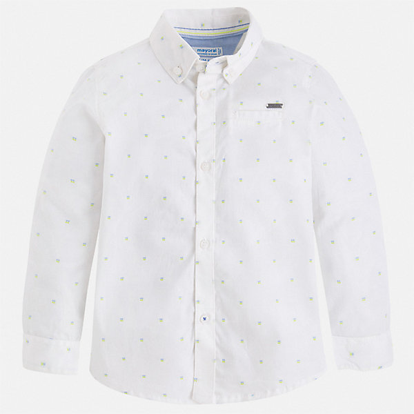 Рубашка Mayoral для мальчикаОдежда<br>Характеристики товара:<br><br>• цвет: белый<br>• состав ткани: 100% хлопок<br>• сезон: круглый год<br>• особенности модели: нарядная<br>• застежка: пуговицы<br>• длинные рукава<br>• страна бренда: Испания<br>• стиль и качество<br><br>Белая рубашка с длинным рукавом для мальчика Mayoral создана европейскими дизайнерами с учетом последних веяний моды. Стильная детская рубашка сделана из натуральной хлопковой ткани. Детская рубашка сшита из приятного на ощупь материала, который позволяет коже дышать. <br><br>Рубашку Mayoral (Майорал) для мальчика можно купить в нашем интернет-магазине.<br>Ширина мм: 174; Глубина мм: 10; Высота мм: 169; Вес г: 157; Цвет: белый; Возраст от месяцев: 18; Возраст до месяцев: 24; Пол: Мужской; Возраст: Детский; Размер: 92,122,116,110,104,134,128,98; SKU: 7540167;