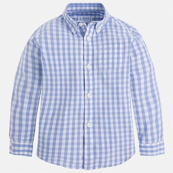 Рубашка Mayoral для мальчикаБлузки и рубашки<br>Характеристики товара:<br><br>• цвет: голубой<br>• состав ткани: 100% хлопок<br>• сезон: круглый год<br>• застежка: пуговицы<br>• длинные рукава<br>• страна бренда: Испания<br>• стиль и качество<br><br>Клетчатая рубашка для мальчика от Майорал поможет создать стильный и удобный наряд в любое время года. Детская рубашка отличается модным и продуманным дизайном. В рубашке для мальчика от испанской компании Майорал ребенок будет выглядеть оригинально и аккуратно. <br><br>Рубашку Mayoral (Майорал) для мальчика можно купить в нашем интернет-магазине.<br>Ширина мм: 174; Глубина мм: 10; Высота мм: 169; Вес г: 157; Цвет: разноцветный; Возраст от месяцев: 18; Возраст до месяцев: 24; Пол: Мужской; Возраст: Детский; Размер: 92,134,128,122,116,110,104,98; SKU: 7540176;