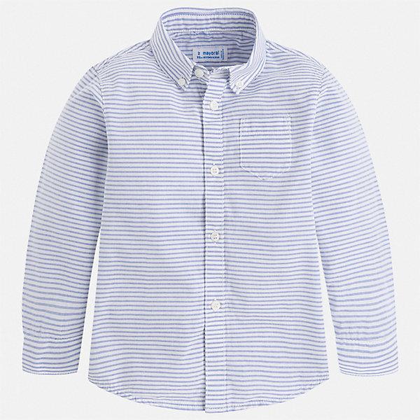 Рубашка Mayoral для мальчикаБлузки и рубашки<br>Характеристики товара:<br><br>• цвет: голубой<br>• состав ткани: 100% хлопок<br>• сезон: круглый год<br>• застежка: пуговицы<br>• длинные рукава<br>• страна бренда: Испания<br>• стиль и качество<br><br>Рубашка с длинным рукавом для мальчика отличается лаконичным продуманным дизайном. Полосатая детская рубашка сделана из дышащего приятного на ощупь материала. Благодаря продуманному крою детской рубашки создаются комфортные условия для тела. <br><br>Рубашку Mayoral (Майорал) для мальчика можно купить в нашем интернет-магазине.<br>Ширина мм: 174; Глубина мм: 10; Высота мм: 169; Вес г: 157; Цвет: разноцветный; Возраст от месяцев: 18; Возраст до месяцев: 24; Пол: Мужской; Возраст: Детский; Размер: 92,134,128,122,116,110,104,98; SKU: 7540185;