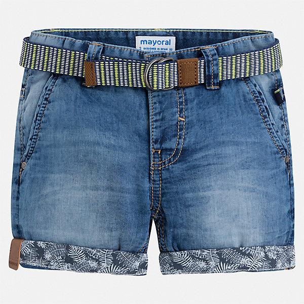 Шорты джинсовые Mayoral для мальчикаШорты, бриджи, капри<br>Характеристики товара:<br><br>• цвет: синий<br>• комплектация: шорты, ремень<br>• состав ткани: 100% хлопок<br>• сезон: лето<br>• шлевки<br>• регулируемая талия<br>• застежка: пуговицы<br>• страна бренда: Испания<br>• стиль и качество<br><br>Детские джинсовые шорты сшиты из дышащего плотного материала. Благодаря преобладанию в его составе натурального хлопка материал детских шорт создает комфортные условия для тела. Шорты для мальчика от Mayoral отличаются стильным дизайном.<br><br>Шорты Mayoral (Майорал) для мальчика можно купить в нашем интернет-магазине.<br>Ширина мм: 191; Глубина мм: 10; Высота мм: 175; Вес г: 273; Цвет: синий; Возраст от месяцев: 18; Возраст до месяцев: 24; Пол: Мужской; Возраст: Детский; Размер: 92,134,128,122,116,110,104,98; SKU: 7540419;