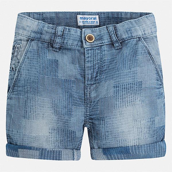 Шорты Mayoral для мальчикаЮбки<br>Характеристики товара:<br><br>• цвет: синий<br>• состав ткани: 100% хлопок<br>• сезон: лето<br>• шлевки<br>• регулируемая талия<br>• застежка: пуговица<br>• страна бренда: Испания<br>• стиль и качество<br><br>Натуральные хлопковые шорты для детей от Mayoral отличаются лаконичным, но стильным дизайном. Стильные и практичные детские шорты подойдут для ношения в разных случаях. Шорты для мальчика Mayoral дополнены шлевками. Детские шорты сшиты из качественного материала с преобладанием хлопка в составе. <br><br>Шорты Mayoral (Майорал) для мальчика можно купить в нашем интернет-магазине.<br>Ширина мм: 191; Глубина мм: 10; Высота мм: 175; Вес г: 273; Цвет: голубой; Возраст от месяцев: 72; Возраст до месяцев: 84; Пол: Мужской; Возраст: Детский; Размер: 122,128,134,104,110,116; SKU: 7540581;