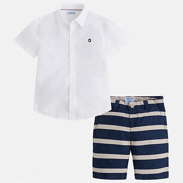 Комплект:шорты,футболка Mayoral для мальчикаКомплекты<br>Характеристики товара:<br><br>• цвет: белый, синий<br>• комплектация: шорты, рубашка<br>• состав ткани: 100% хлопок<br>• сезон: лето<br>• шлевки<br>• регулируемая талия<br>• застежка: пуговицы<br>• короткие рукава<br>• страна бренда: Испания<br>• стиль и качество<br><br>Модный комплект - детские шорты и рубашка - подойдет для ношения в разных случаях. Отличный способ обеспечить ребенку комфорт в жаркую погоду - надеть этот комплект от Mayoral. Детские шорты и рубашка сшиты из качественного материала с преобладанием хлопка в составе. <br><br>Комплект: шорты, рубашка Mayoral (Майорал) для мальчика можно купить в нашем интернет-магазине.<br>Ширина мм: 191; Глубина мм: 10; Высота мм: 175; Вес г: 273; Цвет: синий; Возраст от месяцев: 96; Возраст до месяцев: 108; Пол: Мужской; Возраст: Детский; Размер: 134,128,122,116,110,104,98,92; SKU: 7540660;