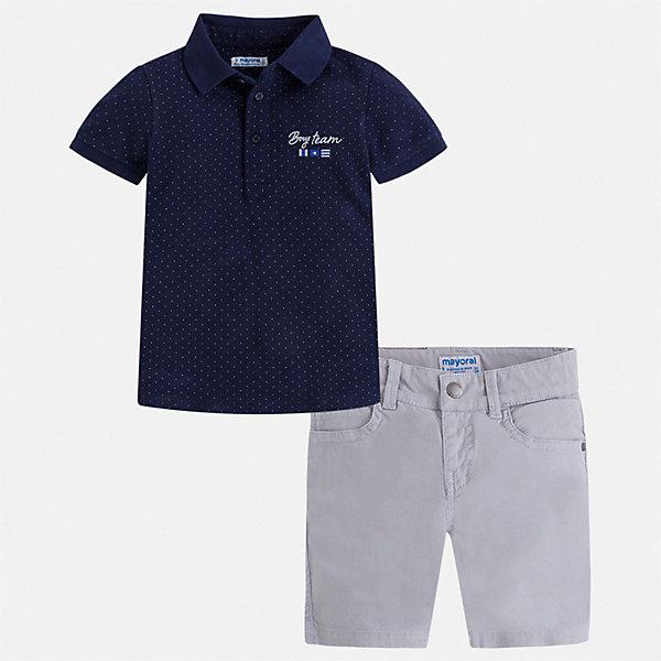 Комплект:шорты,футболка Mayoral для мальчикаКомплекты<br>Характеристики товара:<br><br>• цвет: синий<br>• комплектация: шорты, футболка<br>• состав ткани: 100% хлопок<br>• сезон: лето<br>• шлевки<br>• регулируемая талия<br>• застежка: пуговицы<br>• короткие рукава<br>• страна бренда: Испания<br>• стиль и качество<br><br>Хлопковый детский комплект состоит из двух удобных и качественных вещей. Футболка-поло и шорты для мальчика от испанской компании Майорал хорошо смотрятся и с другими предметами одежды. Хлопковая футболка-поло и шорты для мальчика от Mayoral разработаны с учетом потребностей детей и последних веяний моды. <br><br>Комплект: шорты, футболка Mayoral (Майорал) для мальчика можно купить в нашем интернет-магазине.<br>Ширина мм: 191; Глубина мм: 10; Высота мм: 175; Вес г: 273; Цвет: синий; Возраст от месяцев: 84; Возраст до месяцев: 96; Пол: Мужской; Возраст: Детский; Размер: 128,122,116,110,104,98,92,134; SKU: 7540669;