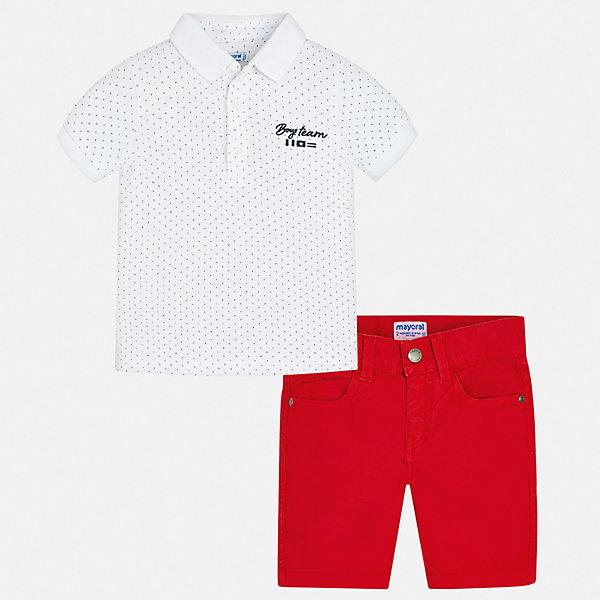 Комплект:шорты,футболка Mayoral для мальчикаКомплекты<br>Характеристики товара:<br><br>• цвет: мульти<br>• комплектация: шорты, футболка<br>• состав ткани: 100% хлопок<br>• сезон: лето<br>• шлевки<br>• регулируемая талия<br>• застежка: пуговицы<br>• короткие рукава<br>• страна бренда: Испания<br>• стиль и качество<br><br>Этот детский комплект состоит из двух удобных и качественных вещей. Футболка-поло и шорты для мальчика от испанской компании Майорал хорошо смотрятся и с другими предметами одежды. Хлопковая футболка-поло и шорты для мальчика от Mayoral разработаны с учетом потребностей детей и последних веяний моды. <br><br>Комплект: шорты, футболка Mayoral (Майорал) для мальчика можно купить в нашем интернет-магазине.<br>Ширина мм: 191; Глубина мм: 10; Высота мм: 175; Вес г: 273; Цвет: белый; Возраст от месяцев: 18; Возраст до месяцев: 24; Пол: Мужской; Возраст: Детский; Размер: 92,134,128,122,116,110,104,98; SKU: 7540678;