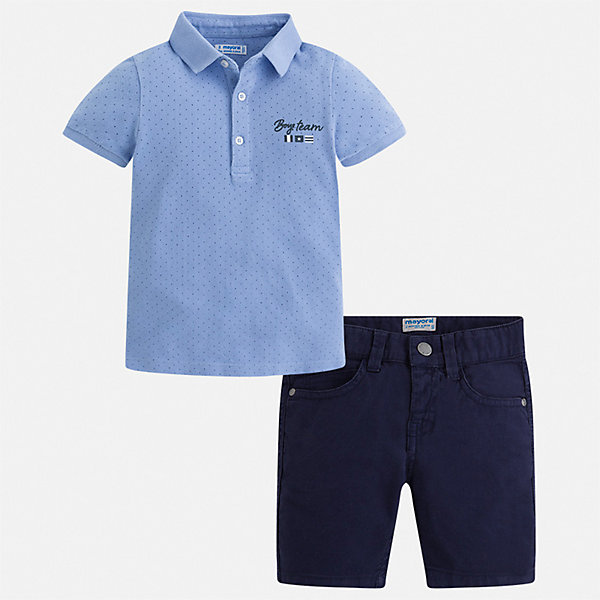 Комплект:шорты,футболка Mayoral для мальчикаКомплекты<br>Характеристики товара:<br><br>• цвет: белый, синий<br>• комплектация: шорты, футболка<br>• состав ткани: 100% хлопок<br>• сезон: лето<br>• шлевки<br>• регулируемая талия<br>• застежка: пуговицы<br>• короткие рукава<br>• страна бренда: Испания<br>• стиль и качество<br><br>Модный комплект - детские шорты и футболка-поло - подойдет для ношения в разных случаях. Отличный способ обеспечить ребенку комфорт в жаркую погоду - надеть этот комплект от Mayoral. Детские шорты и футболка сшиты из качественного материала с преобладанием хлопка в составе. <br><br>Комплект: шорты, футболка Mayoral (Майорал) для мальчика можно купить в нашем интернет-магазине.<br>Ширина мм: 191; Глубина мм: 10; Высота мм: 175; Вес г: 273; Цвет: голубой; Возраст от месяцев: 18; Возраст до месяцев: 24; Пол: Мужской; Возраст: Детский; Размер: 92,134,128,122,116,110,104,98; SKU: 7540687;