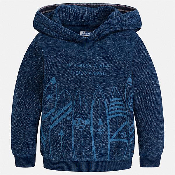 Толстовка Mayoral для мальчикаТолстовки<br>Характеристики товара:<br><br>• цвет: синий<br>• состав ткани: 100% хлопок<br>• сезон: демисезон<br>• особенности модели: с капюшоном<br>• длинные рукава<br>• страна бренда: Испания<br>• стиль и качество<br><br>Хлопковая детская толстовка сделана из натуральной ткани, которая обеспечивает ребенку комфорт. Детская толстовка поможет создать модный и удобный наряд для ребенка в прохладную погоду. Модная толстовка для мальчика от Mayoral удобно сидит по фигуре и стильно смотрится. <br><br>Толстовку Mayoral (Майорал) для мальчика можно купить в нашем интернет-магазине.<br>Ширина мм: 190; Глубина мм: 74; Высота мм: 229; Вес г: 236; Цвет: синий; Возраст от месяцев: 18; Возраст до месяцев: 24; Пол: Мужской; Возраст: Детский; Размер: 92,134,128,122,116,110,104,98; SKU: 7540804;