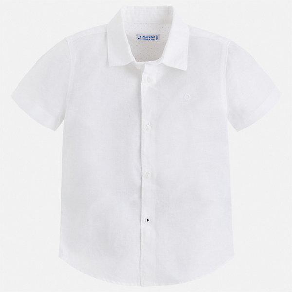 Рубашка Mayoral для мальчикаБлузки и рубашки<br>Характеристики товара:<br><br>• цвет: белый<br>• состав ткани: 70% хлопок, 30% лен<br>• сезон: круглый год<br>• особенности модели: школьная<br>• застежка: пуговицы<br>• короткие рукава<br>• страна бренда: Испания<br>• стиль и качество<br><br>Белая детская рубашка сделана из дышащего приятного на ощупь материала. Благодаря продуманному крою детской рубашки создаются комфортные условия для тела. Рубашка с коротким рукавом для мальчика отличается лаконичным продуманным дизайном.<br><br>Рубашку Mayoral (Майорал) для мальчика можно купить в нашем интернет-магазине.<br>Ширина мм: 174; Глубина мм: 10; Высота мм: 169; Вес г: 157; Цвет: белый; Возраст от месяцев: 36; Возраст до месяцев: 48; Пол: Мужской; Возраст: Детский; Размер: 104,110,116,122,128,134; SKU: 7541089;