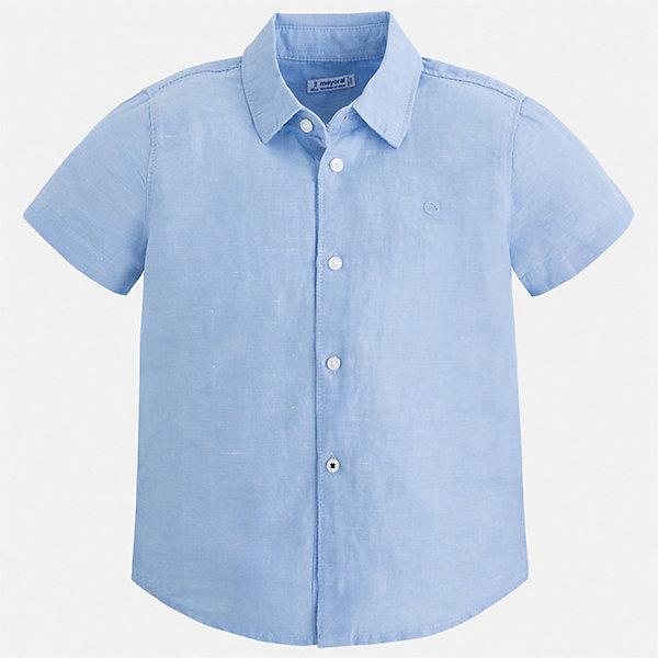 Рубашка Mayoral для мальчикаБлузки и рубашки<br>Характеристики товара:<br><br>• цвет: голубой<br>• состав ткани: 70% хлопок, 30% лен<br>• сезон: круглый год<br>• особенности модели: школьная<br>• застежка: пуговицы<br>• короткие рукава<br>• страна бренда: Испания<br>• стиль и качество<br><br>Такая рубашка с коротким рукавом для мальчика Mayoral удобно сидит по фигуре. Стильная детская рубашка сделана из натуральной хлопковой ткани. Отличный способ обеспечить ребенку комфорт и аккуратный внешний вид - надеть детскую рубашку от Mayoral. Детская рубашка с коротким рукавом сшита из приятного на ощупь материала, который позволяет коже дышать. <br><br>Рубашку Mayoral (Майорал) для мальчика можно купить в нашем интернет-магазине.<br>Ширина мм: 174; Глубина мм: 10; Высота мм: 169; Вес г: 157; Цвет: голубой; Возраст от месяцев: 36; Возраст до месяцев: 48; Пол: Мужской; Возраст: Детский; Размер: 104,134,128,122,116,110; SKU: 7541096;