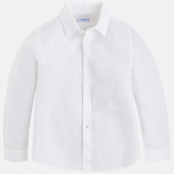 Рубашка Mayoral для мальчикаБлузки и рубашки<br>Характеристики товара:<br><br>• цвет: белый<br>• состав ткани: 70% хлопок, 30% лен<br>• сезон: демисезон<br>• застежка: пуговицы<br>• длинные рукава<br>• страна бренда: Испания<br>• стиль и качество<br><br>Хлопковая рубашка для мальчика от Майорал поможет создать стильный и удобный наряд. Детская рубашка отличается модным и продуманным дизайном. В рубашке для мальчика от испанской компании Майорал ребенок будет выглядеть оригинально и аккуратно. <br><br>Рубашку Mayoral (Майорал) для мальчика можно купить в нашем интернет-магазине.<br>Ширина мм: 174; Глубина мм: 10; Высота мм: 169; Вес г: 157; Цвет: белый; Возраст от месяцев: 18; Возраст до месяцев: 24; Пол: Мужской; Возраст: Детский; Размер: 92,134,128,122,116,110,104,98; SKU: 7541103;