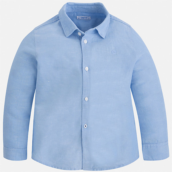 Рубашка Mayoral для мальчикаБлузки и рубашки<br>Характеристики товара:<br><br>• цвет: голубой<br>• состав ткани: 70% хлопок, 30% лен<br>• сезон: демисезон<br>• застежка: пуговицы<br>• длинные рукава<br>• страна бренда: Испания<br>• стиль и качество<br><br>Модная рубашка с длинным рукавом для мальчика Mayoral удобно сидит по фигуре. Стильная детская рубашка сделана из натуральной хлопковой ткани. Отличный способ обеспечить ребенку комфорт и аккуратный внешний вид - надеть детскую рубашку от Mayoral. Детская рубашка с длинным рукавом сшита из приятного на ощупь материала, который позволяет коже дышать. <br><br>Рубашку Mayoral (Майорал) для мальчика можно купить в нашем интернет-магазине.<br>Ширина мм: 174; Глубина мм: 10; Высота мм: 169; Вес г: 157; Цвет: голубой; Возраст от месяцев: 96; Возраст до месяцев: 108; Пол: Мужской; Возраст: Детский; Размер: 134,92,98,104,110,116,122,128; SKU: 7541121;
