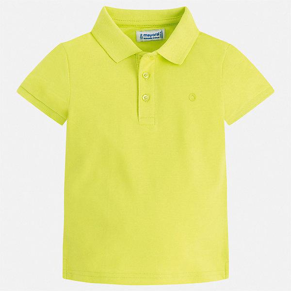 Футболка-поло Mayoral для мальчикаФутболки, поло и топы<br>Характеристики товара:<br><br>• цвет: желтый<br>• состав ткани: 100% хлопок<br>• сезон: лето<br>• особенности модели: отложной воротник<br>• застежка: пуговицы<br>• короткие рукава<br>• страна бренда: Испания<br>• стиль и качество<br><br>Яркая детская футболка-поло с коротким рукавом сделана из дышащего приятного на ощупь материала. Благодаря продуманному крою детской футболки-поло создаются комфортные условия для тела. Эта футболка-поло для мальчика отличается стильным продуманным дизайном.<br><br>Футболку-поло Mayoral (Майорал) для мальчика можно купить в нашем интернет-магазине.<br>Ширина мм: 174; Глубина мм: 10; Высота мм: 169; Вес г: 157; Цвет: зеленый; Возраст от месяцев: 84; Возраст до месяцев: 96; Пол: Мужской; Возраст: Детский; Размер: 128,134,122,116,110,104,98,92; SKU: 7541130;