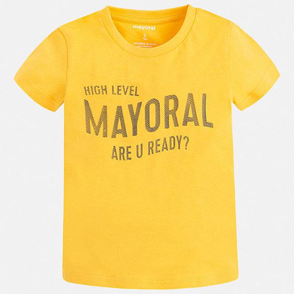 Футболка Mayoral для мальчикаФутболки, поло и топы<br>Характеристики товара:<br><br>• цвет: желтый<br>• состав ткани: 100% хлопок<br>• сезон: лето<br>• короткие рукава<br>• страна бренда: Испания<br>• стиль и качество<br><br>Эта футболка для мальчика от Mayoral удобно сидит по фигуре. Стильная детская футболка сделана из натуральной дышащей и антиаллергенной хлопковой ткани. Детская футболка поможет создать модный и комфортный наряд для ребенка. <br><br>Футболку Mayoral (Майорал) для мальчика можно купить в нашем интернет-магазине.<br>Ширина мм: 199; Глубина мм: 10; Высота мм: 161; Вес г: 151; Цвет: желтый; Возраст от месяцев: 96; Возраст до месяцев: 108; Пол: Мужской; Возраст: Детский; Размер: 134,92,98,104,110,116,122,128; SKU: 7541229;