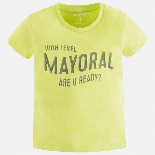 Футболка Mayoral для мальчикаФутболки, поло и топы<br>Характеристики товара:<br><br>• состав ткани: 100% хлопок<br>• сезон: лето<br>• короткие рукава<br>• страна бренда: Испания<br>• стиль и качество<br><br>Эта футболка для мальчика от Mayoral удобно сидит по фигуре. Стильная детская футболка сделана из натуральной дышащей и антиаллергенной хлопковой ткани. Детская футболка поможет создать модный и комфортный наряд для ребенка. <br><br>Футболку Mayoral (Майорал) для мальчика можно купить в нашем интернет-магазине.<br>Ширина мм: 199; Глубина мм: 10; Высота мм: 161; Вес г: 151; Цвет: зеленый; Возраст от месяцев: 96; Возраст до месяцев: 108; Пол: Мужской; Возраст: Детский; Размер: 134,92,98,104,110,116,122,128; SKU: 7541256;