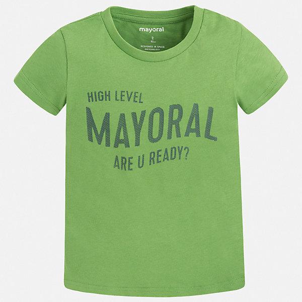 Футболка Mayoral для мальчикаФутболки, поло и топы<br>Характеристики товара:<br><br>• цвет: зеленый<br>• состав ткани: 100% хлопок<br>• сезон: лето<br>• короткие рукава<br>• страна бренда: Испания<br>• стиль и качество<br><br>Яркая хлопковая футболка для мальчика от Майорал поможет обеспечить ребенку комфорт. Детская футболка отличается стильным и продуманным дизайном. В футболке для мальчика от испанской компании Майорал ребенок будет выглядеть модно, а чувствовать себя - удобно. <br><br>Футболку Mayoral (Майорал) для мальчика можно купить в нашем интернет-магазине.<br>Ширина мм: 199; Глубина мм: 10; Высота мм: 161; Вес г: 151; Цвет: зеленый; Возраст от месяцев: 24; Возраст до месяцев: 36; Пол: Мужской; Возраст: Детский; Размер: 98,104,110,116,122,128,134,92; SKU: 7541265;