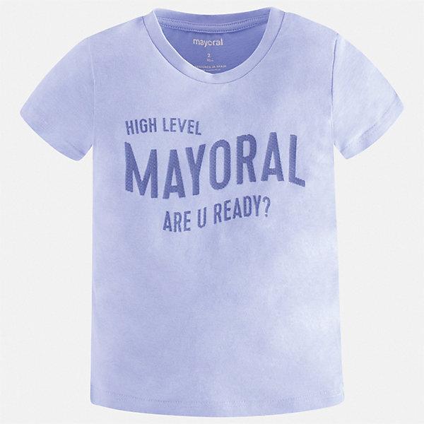 Футболка Mayoral для мальчикаФутболки, поло и топы<br>Характеристики товара:<br><br>• состав ткани: 100% хлопок<br>• сезон: лето<br>• короткие рукава<br>• страна бренда: Испания<br>• стиль и качество<br><br>Эта детская футболка с коротким рукавом декорирована стильным принтом. Благодаря продуманному крою детской футболки создаются комфортные условия для тела. Эта футболка для мальчика отличается модным дизайном.<br><br>Футболку Mayoral (Майорал) для мальчика можно купить в нашем интернет-магазине.<br>Ширина мм: 199; Глубина мм: 10; Высота мм: 161; Вес г: 151; Цвет: голубой; Возраст от месяцев: 18; Возраст до месяцев: 24; Пол: Мужской; Возраст: Детский; Размер: 92,134,128,122,116,110,104,98; SKU: 7541274;