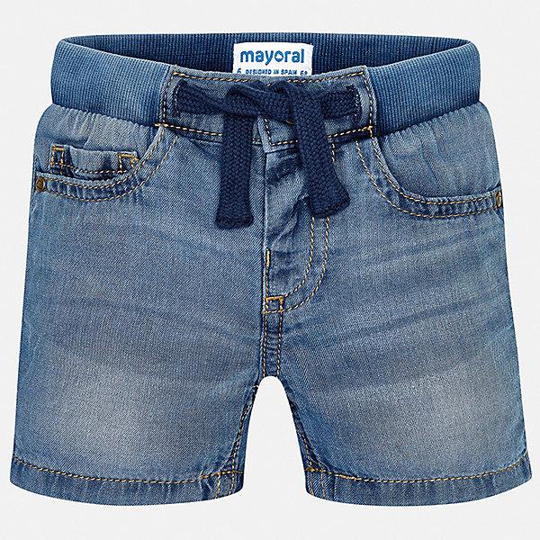 Шорты джинсовые Mayoral для мальчикаШорты, бриджи, капри<br>Характеристики товара:<br><br>• цвет: синий<br>• состав ткани: 100% хлопок<br>• сезон: лето<br>• пояс: шнурок<br>• страна бренда: Испания<br>• стиль и качество<br><br>Отличный способ обеспечить ребенку комфорт в жаркую погоду - надеть эти шорты от Mayoral. Детские шорты сшиты из качественного материала с преобладанием хлопка в составе. Шорты для мальчика Mayoral дополнены удобными карманами. <br><br>Шорты Mayoral (Майорал) для мальчика можно купить в нашем интернет-магазине.<br>Ширина мм: 191; Глубина мм: 10; Высота мм: 175; Вес г: 273; Цвет: синий; Возраст от месяцев: 24; Возраст до месяцев: 36; Пол: Мужской; Возраст: Детский; Размер: 98,92,86,80; SKU: 7541333;