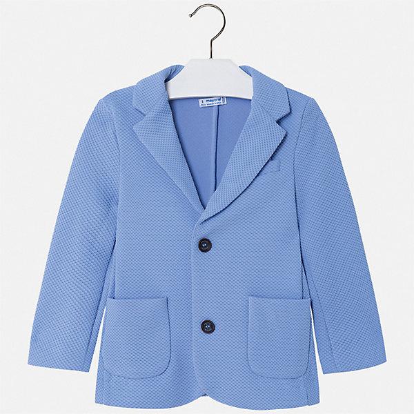 Пиджак Mayoral для мальчикаКостюмы и пиджаки<br>Характеристики товара:<br><br>• цвет: черный<br>• состав ткани: 100% полиэстер<br>• сезон: круглый год<br>• особенности модели: школьная, нарядная<br>• длинные рукава<br>• застежка: пуговицы<br>• страна бренда: Испания<br>• стиль и качество<br><br>Этот детский пиджак сшит из качественного приятного на ощупь материала, преимущественно имеющего в составе натуральный хлопок. Пиджак для мальчика Mayoral дополнен карманами и пуговицами. Детский пиджак обеспечит ребенку аккуратный внешний вид. Пиджак для ребенка отличается стильным силуэтом. <br><br>Пиджак Mayoral (Майорал) для мальчика можно купить в нашем интернет-магазине.<br>Ширина мм: 356; Глубина мм: 10; Высота мм: 245; Вес г: 519; Цвет: голубой; Возраст от месяцев: 18; Возраст до месяцев: 24; Пол: Мужской; Возраст: Детский; Размер: 92,134,128,122,116,110,104,98; SKU: 7542772;
