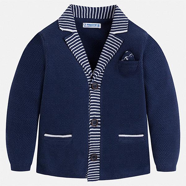 Кардиган Mayoral для мальчикаСвитера и кардиганы<br>Характеристики товара:<br><br>• цвет: синий<br>• состав ткани: 80% хлопок, 20% полиамид<br>• сезон: демисезон<br>• длинные рукава<br>• застежка: пуговицы<br>• страна бренда: Испания<br>• стиль и качество<br><br>Синий пиджак для мальчика Mayoral дополнен карманами и пуговицами. Пиджак для ребенка отличается стильным силуэтом. Детский пиджак обеспечит ребенку аккуратный внешний вид. Детский пиджак сшит из приятного на ощупь материала, преимущественно имеющего в составе натуральный хлопок. <br><br>Пиджак Mayoral (Майорал) для мальчика можно купить в нашем интернет-магазине.<br>Ширина мм: 356; Глубина мм: 10; Высота мм: 245; Вес г: 519; Цвет: синий; Возраст от месяцев: 216; Возраст до месяцев: 108; Пол: Мужской; Возраст: Детский; Размер: 134,92,98,104,110,116,122,128; SKU: 7542781;