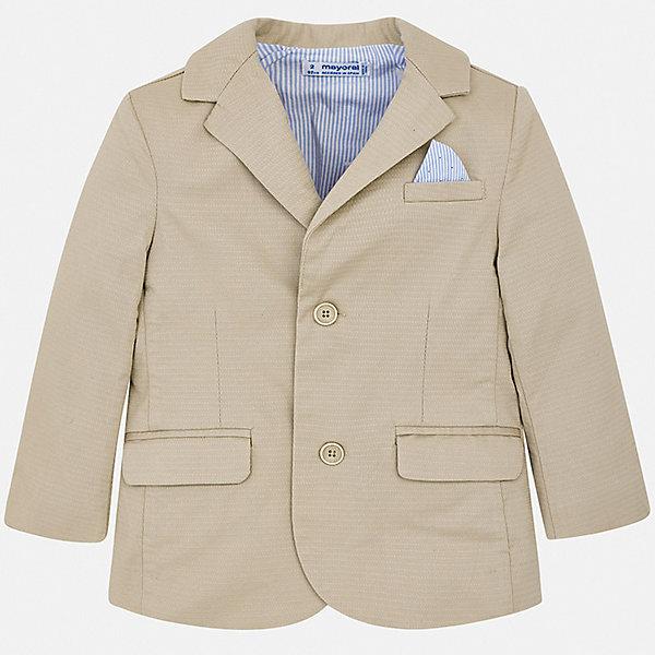 Пиджак Mayoral для мальчикаКостюмы и пиджаки<br>Характеристики товара:<br><br>• цвет: бежевый<br>• состав ткани: 97% хлопок, 3% эластан<br>• сезон: круглый год<br>• особенности модели: школьная, нарядная<br>• длинные рукава<br>• застежка: пуговицы<br>• страна бренда: Испания<br>• стиль и качество<br><br>Элегантный детский пиджак сшит из качественного приятного на ощупь материала, преимущественно имеющего в составе натуральный хлопок. Пиджак для мальчика Mayoral дополнен карманами и пуговицами. Детский пиджак обеспечит ребенку аккуратный внешний вид. Пиджак для ребенка отличается стильным силуэтом. <br><br>Пиджак Mayoral (Майорал) для мальчика можно купить в нашем интернет-магазине.<br>Ширина мм: 356; Глубина мм: 10; Высота мм: 245; Вес г: 519; Цвет: коричневый; Возраст от месяцев: 216; Возраст до месяцев: 84; Пол: Мужской; Возраст: Детский; Размер: 122,116,110,104,98,92,134,128; SKU: 7542799;