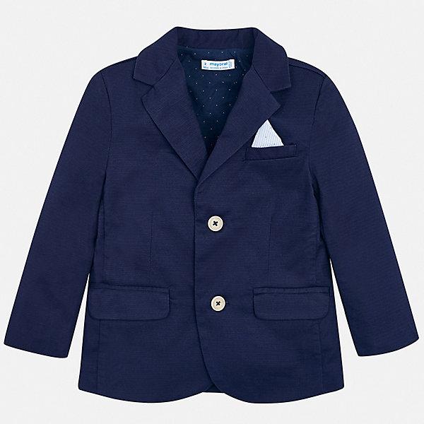Пиджак Mayoral для мальчикаКостюмы и пиджаки<br>Характеристики товара:<br><br>• состав ткани: 97% хлопок, 3% эластан<br>• сезон: круглый год<br>• особенности модели: школьная, нарядная<br>• длинные рукава<br>• застежка: пуговицы<br>• страна бренда: Испания<br>• стиль и качество<br><br>Классический пиджак для мальчика Mayoral дополнен карманами и пуговицами. Пиджак для ребенка отличается стильным силуэтом. Детский пиджак обеспечит ребенку аккуратный внешний вид. Детский пиджак сшит из приятного на ощупь материала, преимущественно имеющего в составе натуральный хлопок. <br><br>Пиджак Mayoral (Майорал) для мальчика можно купить в нашем интернет-магазине.<br>Ширина мм: 356; Глубина мм: 10; Высота мм: 245; Вес г: 519; Цвет: синий; Возраст от месяцев: 18; Возраст до месяцев: 24; Пол: Мужской; Возраст: Детский; Размер: 92,134,128,122,116,110,104,98; SKU: 7542808;
