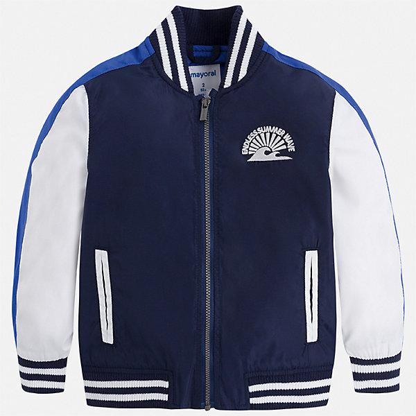 Куртка Mayoral для мальчикаВетровки и жакеты<br>Характеристики товара:<br><br>• цвет: синий<br>• состав ткани: 100% полиэстер<br>• подкладка: 100% полиэстер<br>• утеплитель: нет<br>• сезон: демисезон<br>• особенности куртки: без капюшона, спортивный стиль<br>• застежка: молния<br>• страна бренда: Испания<br>• стиль и качество<br><br>Легкая детская куртка подойдет для переменной погоды. Отличный способ обеспечить ребенку тепло и комфорт - надеть такую куртку от Mayoral. Детская куртка сшита из приятного на ощупь материала. Куртка для мальчика Mayoral дополнена подкладкой и карманами.<br><br>Куртку Mayoral (Майорал) для мальчика можно купить в нашем интернет-магазине.<br>Ширина мм: 356; Глубина мм: 10; Высота мм: 245; Вес г: 519; Цвет: синий; Возраст от месяцев: 18; Возраст до месяцев: 24; Пол: Мужской; Возраст: Детский; Размер: 92,134,128,122,116,110,104,98; SKU: 7542835;