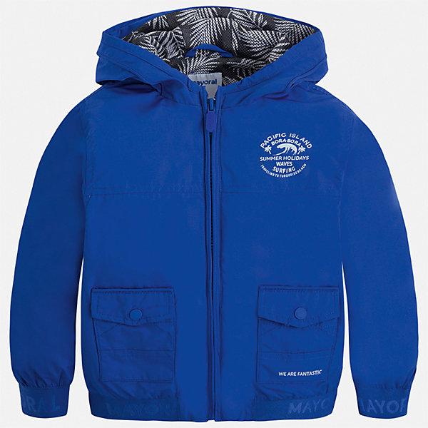 Куртка Mayoral для мальчикаВерхняя одежда<br>Характеристики товара:<br><br>• цвет: синий<br>• состав ткани: 100% полиэстер<br>• подкладка: 100% полиэстер<br>• утеплитель: нет<br>• сезон: демисезон<br>• особенности куртки: с капюшоном<br>• застежка: молния<br>• страна бренда: Испания<br>• неповторимый стиль Mayoral<br><br>Легкая ветровка для мальчика от Майорал поможет обеспечить ребенку комфорт и тепло. В куртке для мальчика от испанской компании Майорал ребенок будет выглядеть модно, а чувствовать себя - комфортно. Детская куртка отличается модным и продуманным дизайном. <br><br>Куртку Mayoral (Майорал) для мальчика можно купить в нашем интернет-магазине.<br>Ширина мм: 356; Глубина мм: 10; Высота мм: 245; Вес г: 519; Цвет: разноцветный; Возраст от месяцев: 18; Возраст до месяцев: 24; Пол: Мужской; Возраст: Детский; Размер: 92,134,128,122,116,110,104,98; SKU: 7542853;