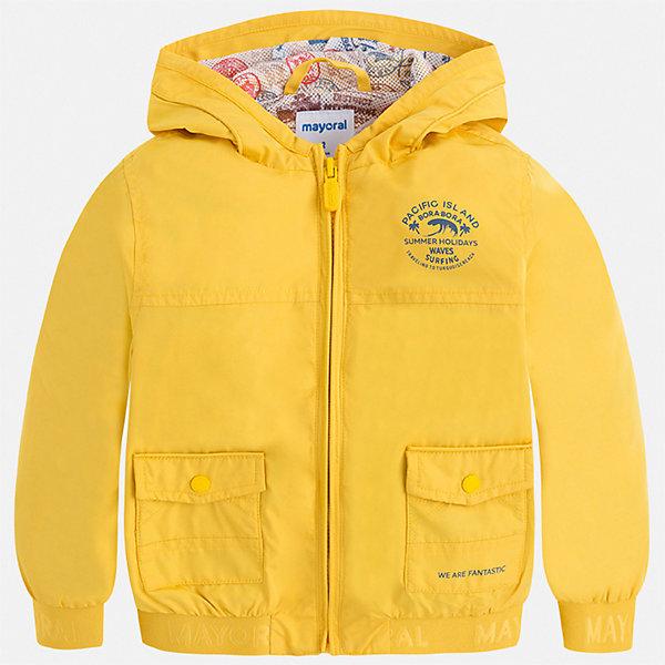 Куртка Mayoral для мальчикаВетровки и жакеты<br>Характеристики товара:<br><br>• цвет: желтый<br>• состав ткани: 100% полиэстер<br>• подкладка: 100% полиэстер<br>• утеплитель: нет<br>• сезон: демисезон<br>• особенности куртки: с капюшоном<br>• застежка: молния<br>• страна бренда: Испания<br>• неповторимый стиль Mayoral<br><br>Эта легкая детская куртка подойдет для переменной погоды. Отличный способ обеспечить ребенку тепло и комфорт - надеть такую куртку от Mayoral. Детская куртка сшита из приятного на ощупь материала. Куртка для мальчика Mayoral дополнена подкладкой и карманами.<br><br>Куртку Mayoral (Майорал) для мальчика можно купить в нашем интернет-магазине.<br>Ширина мм: 356; Глубина мм: 10; Высота мм: 245; Вес г: 519; Цвет: желтый; Возраст от месяцев: 18; Возраст до месяцев: 24; Пол: Мужской; Возраст: Детский; Размер: 92,134,128,122,116,110,104,98; SKU: 7542862;