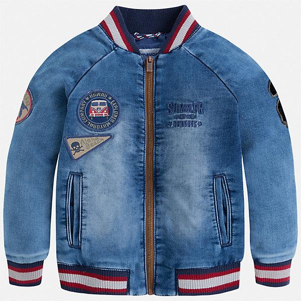 Куртка Mayoral для мальчикаВетровки и жакеты<br>Характеристики товара:<br><br>• цвет: синий<br>• состав ткани: 83% хлопок, 15% полиэстер, 2% эластан<br>• подкладка: 100% полиэстер<br>• утеплитель: нет<br>• сезон: демисезон<br>• особенности куртки: без капюшона<br>• застежка: молния<br>• страна бренда: Испания<br>• неповторимый стиль Mayoral<br><br>Джинсовая детская куртка сделана из качественного материала. Куртка для мальчика отличается стильным продуманным дизайном. В детской куртке есть подкладка, модель дополнена мягкими манжетами и удобными карманами.<br><br>Куртку Mayoral (Майорал) для мальчика можно купить в нашем интернет-магазине.<br>Ширина мм: 356; Глубина мм: 10; Высота мм: 245; Вес г: 519; Цвет: голубой; Возраст от месяцев: 18; Возраст до месяцев: 24; Пол: Мужской; Возраст: Детский; Размер: 92,122,116,110,104,134,128,98; SKU: 7542871;