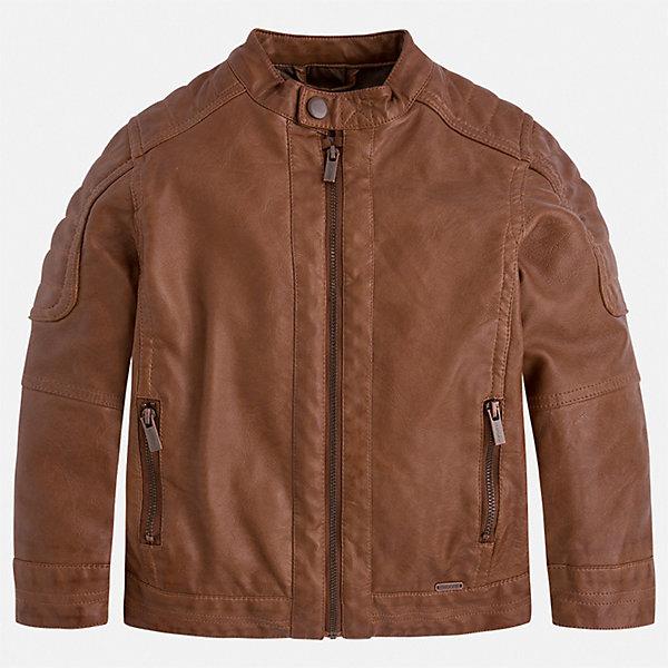 Куртка Mayoral для мальчикаВетровки и жакеты<br>Характеристики товара:<br><br>• цвет: коричневый<br>• состав ткани: 100% полиуретан<br>• подкладка: 100% полиэстер<br>• утеплитель: нет<br>• сезон: демисезон<br>• особенности куртки: без капюшона<br>• застежка: молния<br>• страна бренда: Испания<br>• неповторимый стиль Mayoral<br><br>Стильная куртка для мальчика от Майорал - пример высокого качества и модного дизайна. В куртке для мальчика от испанской компании Майорал ребенок будет выглядеть модно, а чувствовать себя - комфортно. Детская куртка отличается качественной фурнитурой. <br><br>Куртку Mayoral (Майорал) для мальчика можно купить в нашем интернет-магазине.<br>Ширина мм: 356; Глубина мм: 10; Высота мм: 245; Вес г: 519; Цвет: коричневый; Возраст от месяцев: 36; Возраст до месяцев: 48; Пол: Мужской; Возраст: Детский; Размер: 104,110,116,122,128,134,92,98; SKU: 7542880;