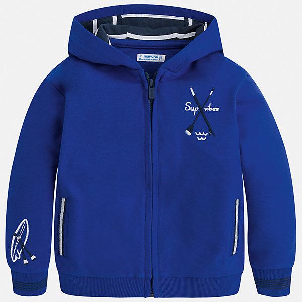Куртка Mayoral для мальчикаВерхняя одежда<br>Характеристики товара:<br><br>• цвет: синий<br>• состав ткани: 100% хлопок<br>• сезон: демисезон<br>• особенности куртки: с капюшоном, спортивный стиль<br>• застежка: молния<br>• длинные рукава<br>• страна бренда: Испания<br>• неповторимый стиль Mayoral<br><br>Такая детская толстовка отличается стильным и продуманным дизайном. Модная хлопковая толстовка для мальчика от Майорал поможет обеспечить ребенку комфорт и тепло. В толстовке для мальчика от испанской компании Майорал ребенок будет чувствовать себя удобно благодаря качественным швам и натуральному материалу. <br><br>Толстовку Mayoral (Майорал) для мальчика можно купить в нашем интернет-магазине.<br>Ширина мм: 356; Глубина мм: 10; Высота мм: 245; Вес г: 519; Цвет: синий; Возраст от месяцев: 18; Возраст до месяцев: 24; Пол: Мужской; Возраст: Детский; Размер: 92,134,128,122,116,110,104,98; SKU: 7542914;