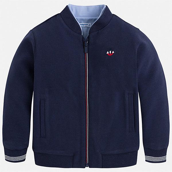 Куртка Mayoral для мальчикаВетровки и жакеты<br>Характеристики товара:<br><br>• цвет: синий<br>• состав ткани: 77% хлопок, 23% полиэстер<br>• сезон: демисезон<br>• особенности куртки: без капюшона<br>• застежка: молния<br>• страна бренда: Испания<br>• неповторимый стиль Mayoral<br><br>Легкая куртка для детей от популярного бренда Mayoral - стильная и удобная вещь. Эта легкая детская куртка подойдет для переменной погоды. Детская куртка сшита из приятного на ощупь материала. Куртка для мальчика Mayoral дополнена манжетами и карманами.<br><br>Куртку Mayoral (Майорал) для мальчика можно купить в нашем интернет-магазине.<br>Ширина мм: 356; Глубина мм: 10; Высота мм: 245; Вес г: 519; Цвет: голубой; Возраст от месяцев: 18; Возраст до месяцев: 24; Пол: Мужской; Возраст: Детский; Размер: 92,134,128,122,116,110,104,98; SKU: 7542941;