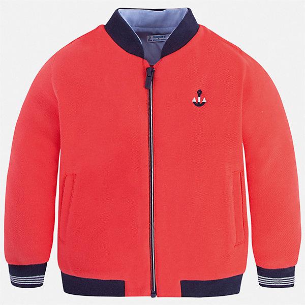 Куртка Mayoral для мальчикаВерхняя одежда<br>Характеристики товара:<br><br>• цвет: красный<br>• состав ткани: 77% хлопок, 23% полиэстер<br>• сезон: демисезон<br>• особенности куртки: без капюшона<br>• застежка: молния<br>• страна бренда: Испания<br>• неповторимый стиль Mayoral<br><br>Яркая легкая детская куртка сделана из качественного материала. Куртка для мальчика отличается стильным продуманным дизайном. В детской куртке есть капюшон, модель дополнена мягкими манжетами и удобными карманами.<br><br>Куртку Mayoral (Майорал) для мальчика можно купить в нашем интернет-магазине.<br>Ширина мм: 356; Глубина мм: 10; Высота мм: 245; Вес г: 519; Цвет: бордовый; Возраст от месяцев: 18; Возраст до месяцев: 24; Пол: Мужской; Возраст: Детский; Размер: 128,122,116,110,104,98,92,134; SKU: 7542950;