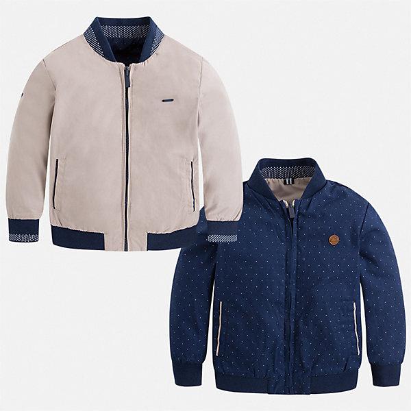 Куртка двусторонняя Mayoral для мальчикаВерхняя одежда<br>Характеристики товара:<br><br>• цвет: синий<br>• состав ткани: 100% полиэстер<br>• подкладка: 65% полиэстер, 35% хлопок<br>• утеплитель: нет<br>• сезон: демисезон<br>• температурный режим: от +5 до +20<br>• особенности куртки: без капюшона, двусторонняя<br>• застежка: молния<br>• страна бренда: Испания<br>• неповторимый стиль Mayoral<br><br>Двусторонняя легкая детская куртка сделана из качественного материала. Куртка для мальчика отличается современным продуманным дизайном. В детской куртке кроются сразу две стильные модели. Модель дополнена мягкими манжетами и капюшоном. <br><br>Куртку двустороннюю Mayoral (Майорал) для мальчика можно купить в нашем интернет-магазине.<br>Ширина мм: 356; Глубина мм: 10; Высота мм: 245; Вес г: 519; Цвет: коричневый; Возраст от месяцев: 18; Возраст до месяцев: 24; Пол: Мужской; Возраст: Детский; Размер: 92,134,128,122,116,110,104,98; SKU: 7543037;
